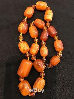 Beautiful Natural Baltic Butterscotch Egg Yolk Amber 17 Beads Necklace 40g
