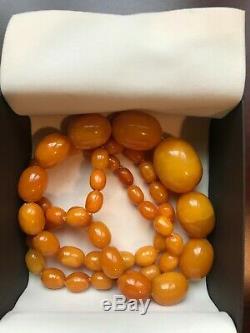 Beautiful Natural Baltic Butterscotch Egg Yolk Graduated Amber Bead Necklace 58g