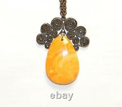 Beautiful Natural Old Antique Butterscotch Egg Yolk Baltic Amber Necklace