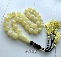 Big 100g. White Baltic Amber Islamic Prayer Rosary 17mm. 33Beads Misbaha Presse