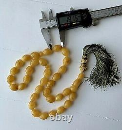 Big 71g. Egg Yolk Natural Baltic Amber Islamic Prayer Rosary Olive Beads Pressed