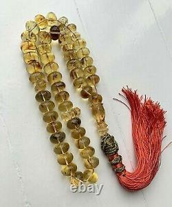 Big Natural Baltic Amber Islamic Prayer Rosary 60g Tablet 45 Beads Tesbih Misbah