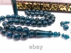 Blue rosary Natural Amber Rosary 45 Islamic Prayer Beads 70-75 Gr Misbaha