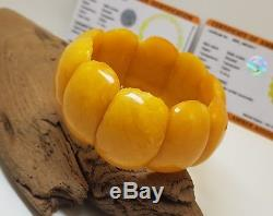 Bracelet Amber Natural Baltic 47,1g Vintage Cut From One Stone Old White H-052