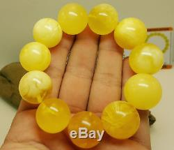 Bracelet Bead Huge Natural Amber Baltic Genuine 55,6g White Vintage Big E-020