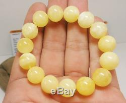Bracelet Natural Baltic Amber Stone 18,3g White Bead Sea Old Vintage Rare D-146