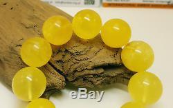 Bracelet Natural Baltic Amber Stone 38,0g Egg Yolk Vintage Bead White Rare G-013