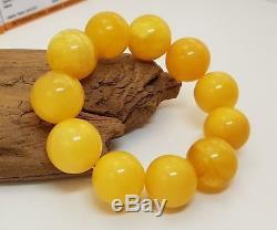 Bracelet Rare Stone Amber Natural Baltic Vintage 48,3g Huge Old Bead White X-051