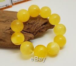 Bracelet Stone Amber Natural Baltic Genuine 31,7g Vintage Rare Bead White H-021