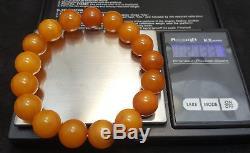 Bracelet Stone Natural Amber Baltic Beads 21,3g Old White Vintage Rare Z-055