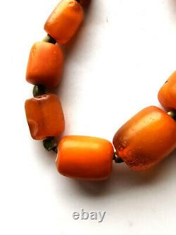 Butterscotch Amber Egg Yolk Baltic Natural Antique Old very Large Beads 88.5gr