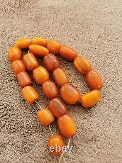 Butterscotch Egg Yolk Amber Baltic Natural Antique Old Large Prayer Beads 55 gr