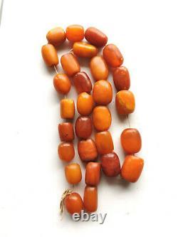 Butterscotch Egg Yolk Amber Baltic Natural Antique Old Large Prayer Beads 75 gr