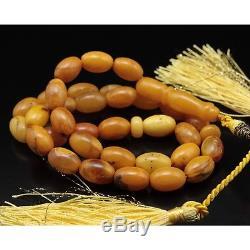 Butterscotch Egg Yolk Natural Baltic Amber Islamic 33Prayer Beads Tasbih Misbah