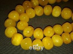Certified 97,9g Baltic Natural Amber Egg Yolk Butterscotch Necklace 64cm