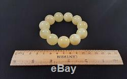 Certified Baltic Natural 43,74g Royal White Amber 19,5mm Round Beads Bracelet