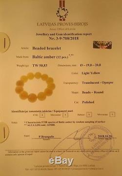 Certified Baltic Natural 50,83gr Amber Beads 20mm Egg Yolk Butterscotch Bracelet