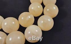Certified Huge Baltic Natural 110,4g Royal White Amber 20mm Round Beads Necklace