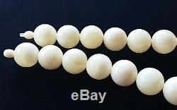 Certified Huge Baltic Natural 111,6g Royal White Amber Round Beads Necklace 20mm