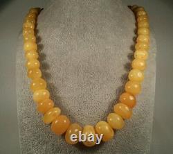 Certified Vintage 97.9g Baltic Natural Amber Egg Yolk Butterscotch Necklace 64cm