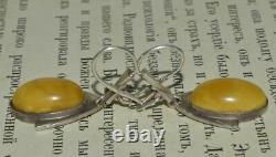 Chic Vintage Natural Baltic Old Royal Amber Sterling Silver 925 Womans Earrings