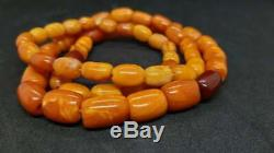 Chinese Antique Natural Baltic Amber Butterscotch Necklace Old Prayer Beads Mala