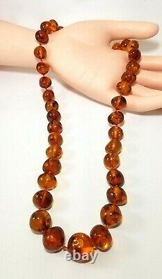 Chunky Polished 22 Inch Natural Dark Cognac Baltic Amber Bead Necklace 49 Grams