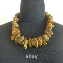 Chunky Vintage NATURAL Untreated RAW BALTIC AMBER 21 NECKLACE 121.5g, 925 Clasp