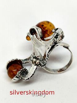 Cognac and Cognac Baltic Amber Octopus Ring with Silver 925