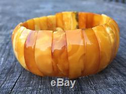 Eggyolk Caramel Butterscotch Natural Baltic Amber Bracelet Cabochon