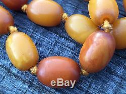 Eggyolk Caramel Butterscotch Natural Baltic Amber Necklace Prayer Beads