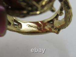ESTATE 14k Yellow Gold Leaf Detail Cabochon Orange Amber Baltic Honey Ring 6.5