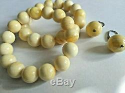 Earrings Natural Huge 13 mm. Baltic Royal White Butter Amber Round Beads
