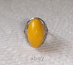 Egg Yolk Genuine Baltic Amber Ring Solid Silver 875 Filigree USSR Vintage sz 5.5