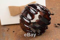 Elegant Baltic Amber Bracelet Dark Cherry color Masive natural beads Genuine