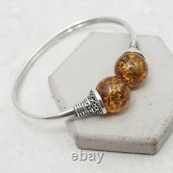 Elegant Baltic Amber Cuff Bracelet Natural Sterling Silver Amber Bangle Bracelet