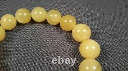 Elegant Genuine Baltic Natural 18,33gr Amber Egg Yolk Round Beads Bracelet