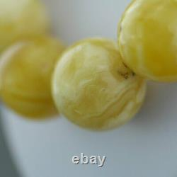 Elegant German Natural Baltic Amber beads rare necklace in cloudy egg yolk and w
