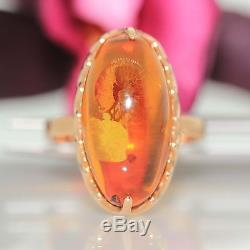 Estate 14k Pink Rose gold Natural Russian Baltic Amber Oval solitaire ring band
