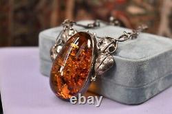 Estate vintage 925 sterling silver huge Baltic Amber cabochon necklace 21.5
