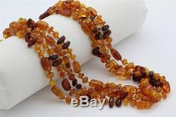 Extra Long 92 Natural Baltic Golden Honey Amber Nugget 6mm-13mm Necklace SMS NR