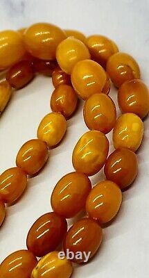 FINEST QUALITY Antique Natural Baltic AMBER BEAD NECKLACE EGG YOLK BUTTERSCOTCH