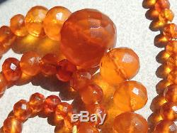Faceted Natural Baltic Honey Amber Bead Necklace 75 Grams