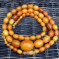 Fine Antique Heavy Natural Baltic Amber Butterscotch Beads Necklace 51g