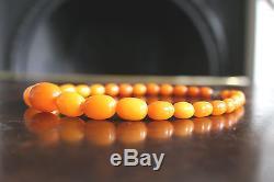 Fine Antique Natural Baltic Butterscotch Egg Yolk Amber Graduated Beads, 26.3gr