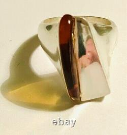Fine Sculptural Modernist Lapponia Finland Silver and Amber Ring, 2001, 11.8g