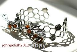 Full Colour Baltic Amber Bees Bangle on Silver 925