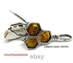 Full Colour Bee on Honey Baltic Amber Pendant on Silver 925