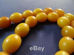 Gorgeous Natural Baltic Butterscotch Egg Yolk Amber Beaded Necklace 52 Grams