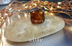 Genuine 925 Sterling Silver Large Chunky Baltic Amber Gemstone Ring Size 9